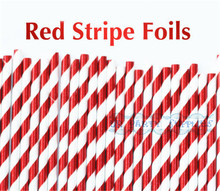 200pcs RED FOIL Shiny Striped Paper Straws Christmas Valentines Party Decor 1st Birthday Decor Graduation Party Straws