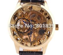 See Through Golden Tone Hollow Skeleton Wind Up Mechanical Mens Wrist Watch A447(China)