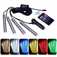 4Pcs Sound Voice Controller Car Interior RGB LED Strip Light Atmosphere Lamp Foot Decorative Light Lamp+24 Keys Remote Control