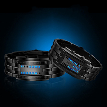 NEW Hot Led Displayer Luminous Sports Watches Deluxe Luxury LED Electronic Men Women Stainless Steel Wristwatches Blue Binary(China)