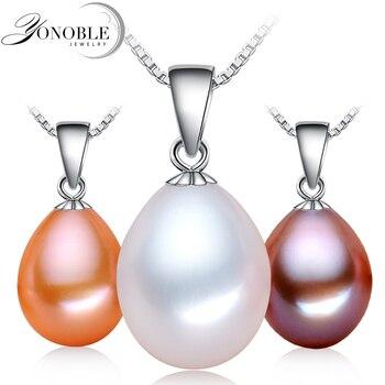 Реальная пресноводная перла кулон для женщин, подлинная белый натуральный жемчуг кулон 925 стерлингового серебра ювелирные изделия дочь подарок на день рождения