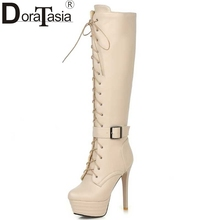 Big Size 34-45 Knee High Women Boots Zipper Motorcycle Boots Super High Heels Buckle Strap Cross Tie Platform Shoes Winter Boots