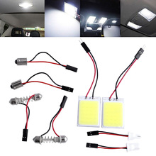 2pcs HID Saving Bright 24 COB LED Panel Light Practical For Car Auto Interior Door Trunk Dome Reading White Lamp Car Accessories
