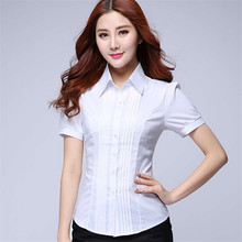 2017 Summer Women Blouse Bodycon Short Sleeves White Tops High Quality Office OL Plus Size Fashion Desainer S-5XL