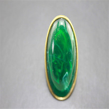 ENZE Fashion rings 2015 New fashion and pure and fresh and contracted exaggerated gem restoring ancient ways ms dark green ring