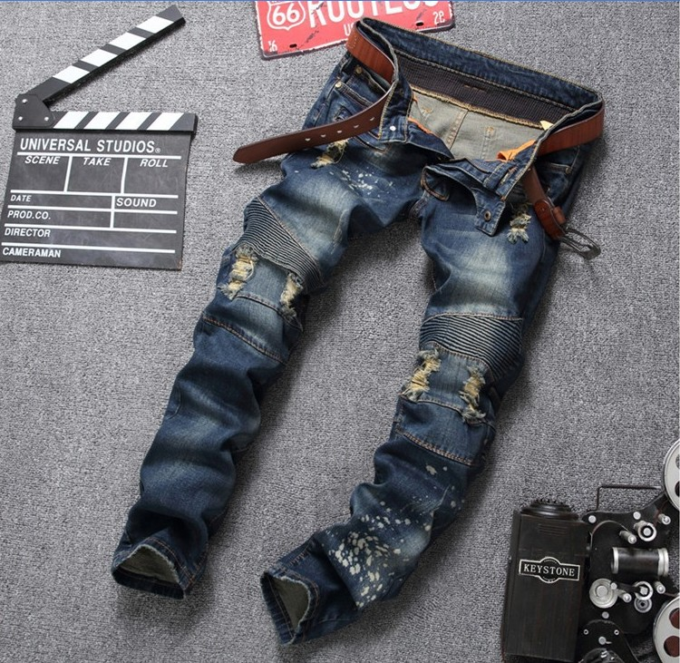 2017 Hot Mens Skinny jeans men Runway slim jeans denim Biker jeans hip hop pants Washed Pleated jeans Hole Trouses #552Одежда и ак�е��уары<br><br><br>Aliexpress