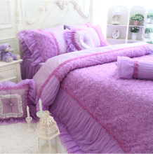 Cotton pink purple rose bedding sets,girl twin full queen king,luxury princess wedding bedclothes bedspread pillow quilt cover