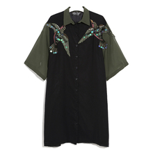 Embroidery Chiffon Dress Summer Korean Fashion Black Dress Bird Embroidery Sequin Dresses in large sizes High Quality Vestidos
