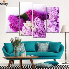 Fashion 4 Panels The lilacs HD Canvas Print Painting Artwork For Living Room Wall Decorative Painting Unframed promotion H066