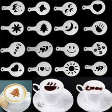 DealsOcean 16Pcs Mold Coffee Milk Cake Cupcake Stencil Template Coffee Barista Cappuccino Template Strew Pad Duster Spray Tools(China)