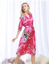 The peacock woman bathrobe summer cardigan sexy nightgown silk pajamas free shipping WP200(China)