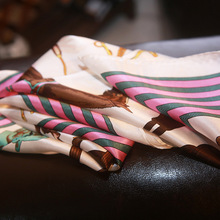 High quality 100% genuine silk scarf small silk square scarf saddle horse printed striped silk scarf(China)