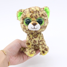 "Ty Beanie Boos Big Eyes 6"" Green Leopard Tiger Animal Plush Stuffed Toys"