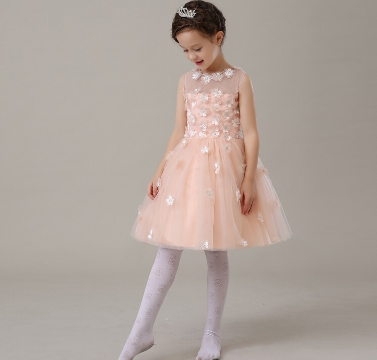 Deluxe Pale Pink Petals Tulle Tutu Girl Birthday Dress Baby Girls Party Dress Wedding Ball Gown Flower Girls Clothes<br>