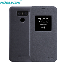For LG G6 Cover 5.7'' for LG G6 PU Leather Case NILLKIN Quality Hard PC Frosted Back Cover Flip Smart Sleep Mobile Phone Cases(China)