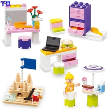 City Friends Dresser/Computer Table/Lockers Box/Beach Castle/Holiday Girl Princess Compatible with Legoe Kids Block Gift Toys(China)
