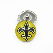 20pcs/lot New Orleans Saints Teams Snap Buttons Fit 18mm Glass USA Sports Ginger Snap Jewelry Bracelets&Bangles