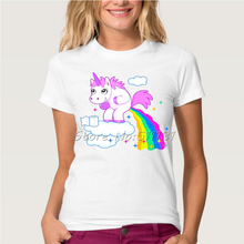 Newest Funny Rainbow Unicorn Design Printed T-Shirt Women/Girl Fashion Harajuku Cartoon Short Sleeve Tee Tops Clothes