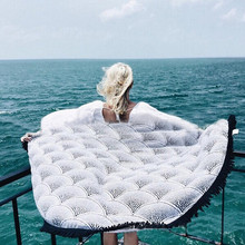 Round Bohemia Beach Towel 150*150cm big size Tassel towel white peacock Printed Tassel Knitted 100% polyester summer Bath towel