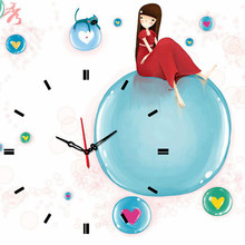 Sweet Girl Blue Balloon Cute Clock Canvas Painting Children's Room Decor modular picture on the wall living room photo(China)