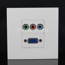 Wall Face Plate RCA RGB Jack + VGA Media Socket Assorted Panel Faceplate HD TV