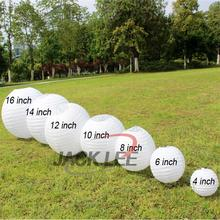 HAOCHU 5pcs/lot 6-8-10-12-14-16 Inch Round Chinese Paper Lantern White lampion For Wedding Birthday kid Party Baptism Decoration
