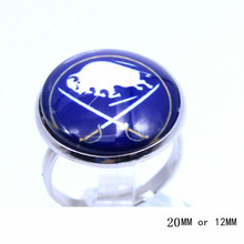 Buffalo Sabres Ring Ice Hockey Charms NHL Sport Jewlery Round Glass Dome Silver Plated  Ring For Women Girl Adjustable
