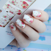 14pcs/ Sheet Flowers Nail Wraps Red Rose Nail Art Full Stickers BORN PRETTY MDS1013 # 23251(China)