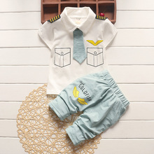 BibiCola newborn baby boys summer pilot clothing sets cotton 2017 new kids clothes tie gentleman outfits child short sleeve tops(China)