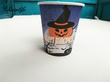 Chicinlife 10Pcs Halloween Pumpkin Paper Cup Disposable Tableware Paper Plates Halloween Party Drinking Decor Supplies