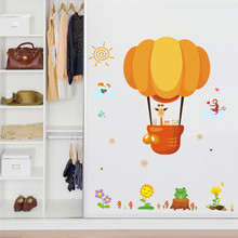 % Cartoon Airplane and Hot Air Balloons Removable Wall sticker Vinyl Decals For Kids Room bedroom Boys Home Decoration Mural(China)