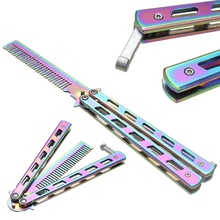 High Quality Rainbow Color Stainless Steel Folding Butterfly Balisong Comb Cool Practice Training Metal Hair Care & Styling Tool