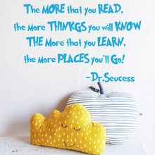 The More That You Read  Quote Wall Sticker Baby Nursery Dr Seuss Quote Wall Decal Kids Room Easy Removable Cut Vinyl Home Decor