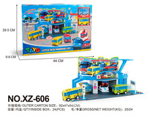 New Tayo the little bus set korean anime model shopping mall mart garage with 2 mini cars for kids oyuncak gift xz-606