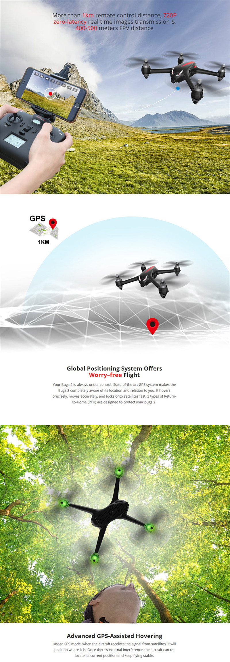 MJX B2W Bugs 2W Monster WiFi FPV Brushless 1080P HD Camera GPS Altitude Hold Black Red RC Drone Quadcopter RTF VS Hubsan H501S