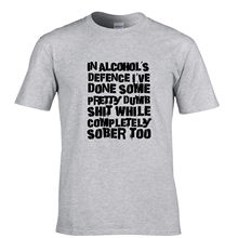 Gildan For Man's T Shirts In Alcohols Defence Sober Stupid Mistakes Funny Joke Present Design T Shirt Hipster Tops Cool Tees