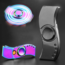 Propeller style Fidget Hand Finger Decompression Gyro Cigarette Lighter with LED Flash Light & USB Charging(China)