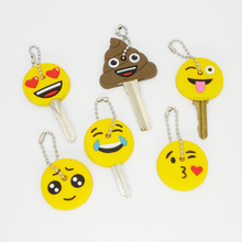 Silicone Amusing Head Yellow Face Stool Emoticons Smile Key Cover Key Cap Keychain Key Chain Key Ring Key Holder Women Bag Charm(China)