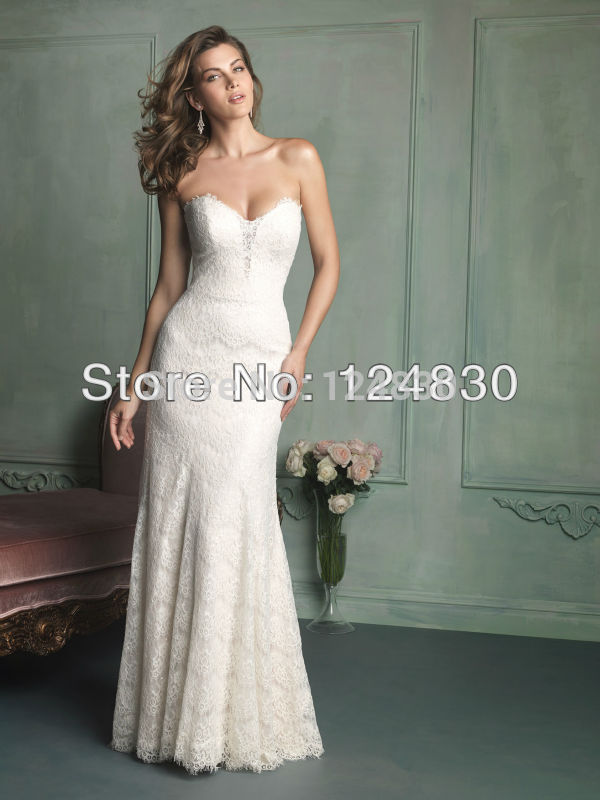 Free Shipping Custom-Made Sexy Simple Bridal Dresses Strapless Sweetheart Lace Sheath Wedding Dresses Vestido de Noiva(China (Mainland))