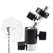 "New 360 Degree Camera Flash Hot Shoe Adapter Umbrella Holder Swivel Light Stand Bracket Tripod 1/4""3/8'' Photography Accessory(China)"