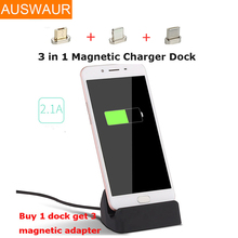 3 in 1 Magnetic Charger Dock Micro USB For iphone Type C Charging Station universal For iPhone X 8 7 6s Plus For Samsung Galaxy(China)