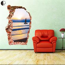 Hot Sale SunSet Beach Fashion Creative 3D Wall Stickers High Quality PVC de parede infantil Wall Stickers Home Decor HH1314