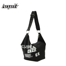 Hot Women Letter Shoulder Bags Zipper Irregular Canvas Crossbody Ladies Female Hobos Casual Messenger Bag Girls Fashion Design