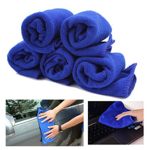 5pcs/Lot New Blue Soft Microfiber Cloth Cleaning Auto Car Detailing Polishing Wash Cloths Duster Home Kitchen Towels 28*28cm