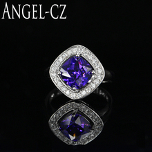 ANGELCZ Romantic Princess Cut Purple Crystal Pave Setting Ladies 925 Sterling Silver Cocktail Ring For Women Party Jewelry AR013