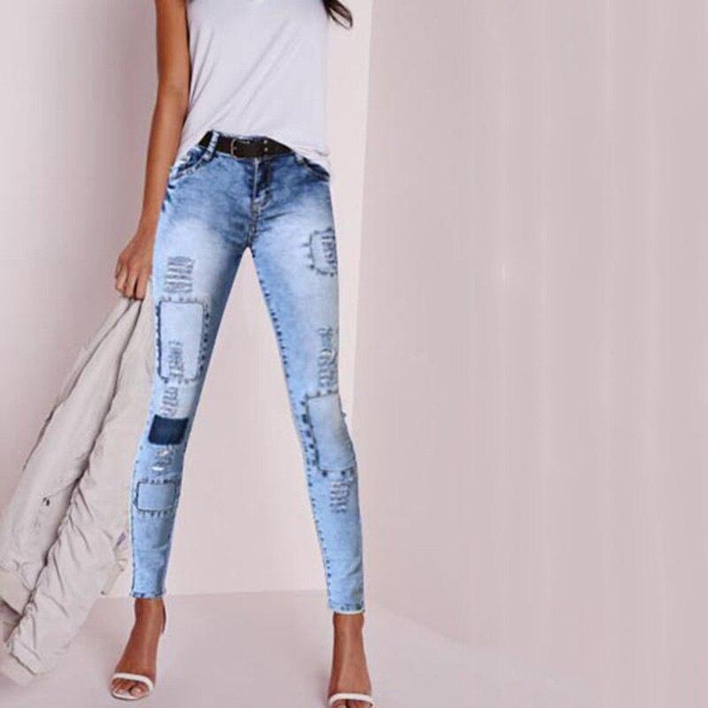 European American style pure cotton women jeans quality fashion vintage plus size elastic ripped skinny cowboy denim pants D215Одежда и ак�е��уары<br><br><br>Aliexpress
