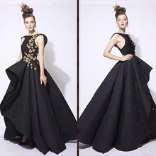 Charming Black Lace Evening Gown Cap Sleeves Party Short Front Long Back A-line Prom Evening Dress Vestido longo 2017
