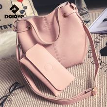 DOLOVE Women Bag 2017 New Hot Fashion Mother Sbag Lychee Pattern Water Bucket Handbag Single Shoulder Messenger Bags