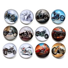 12pcs/Lot Halley Motorcycle Pattern Glass Charm 18mm Snap Button Jewelry For 18mm Snaps Bracelet Snap Jewelry KZ0498(China)