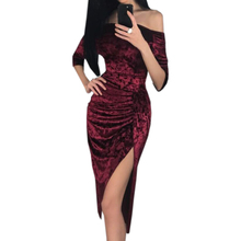 Buy 2018 New Hot Velvet Dress Autumn Warm Women Slash Neck Bodycon Bandage Dress Knee Length Sexy Split Party Dress Robe Femme GV251 for $12.59 in AliExpress store